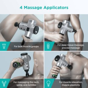 Opove Massage Gun Deep Tissue Percussion Muscle Massager 4 Applicators