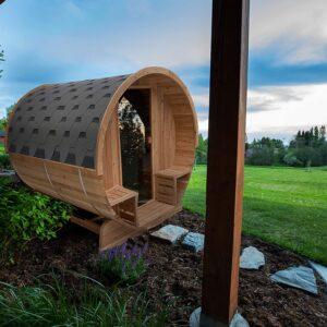 ALEKO SB6CED Outdoor Rustic Cedar Barrel Steam Sauna 6 Person