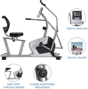 N-C Recumbent Exercise Bike with Arm Exerciser, 350lb